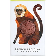 The Konjac Rainforest Monkey Mini Face Puff Red French Clay