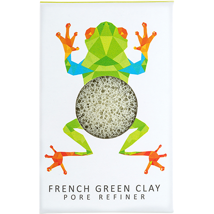 The Konjac Rainforest Tree Frog Mini Face Puff Green French Clay