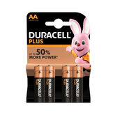 Duracell Plus Alkaline Batteries AA LR6 / MN1500 4 Units