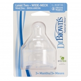 Dr Brown's Teat Size 2 Wide Neck Teat  Silicone +3 Months, 2 Units