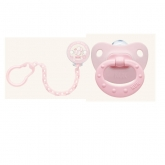 Nuk Rose And Blue Silicone Soother And Chain 6-18m