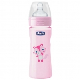 Chicco Well-Being Silicone Baby Bottle PP Medium Flux Rose 2m+ 250ml