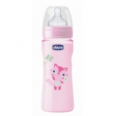 Chicco Well-Being Silicone Baby Bottle PP Fast Flux Rose 4m+ 330ml