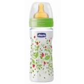 Chicco Well-Being Latex Baby Bottle PP Medium Flux Green 2m+ 250ml