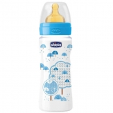 Chicco Well-Being Rubber Baby Bottle PP Fast Flux Blue 4m+ 330ml